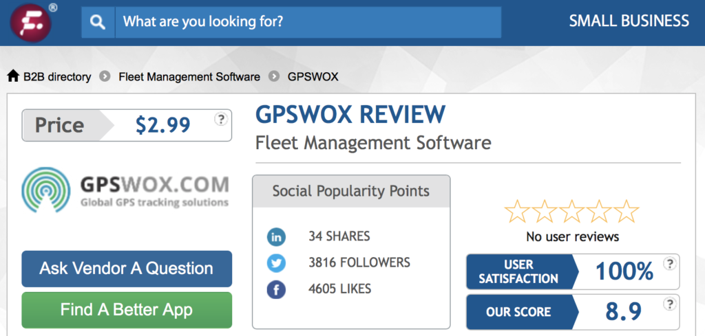 Which software got the highest score: Navixy, GPSWOX or