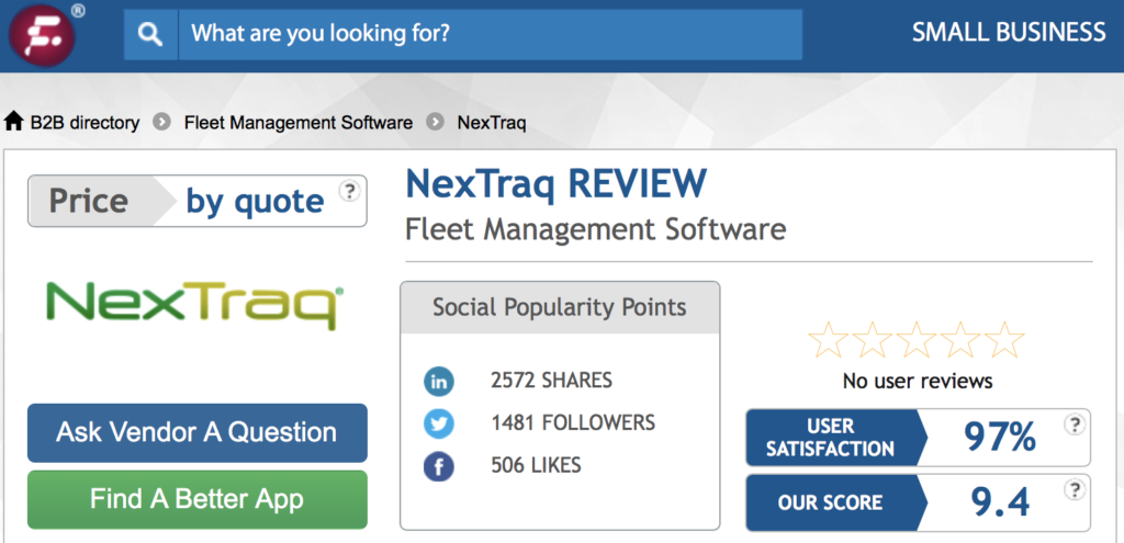 Which software got the highest score: NexTraq, Wialon or